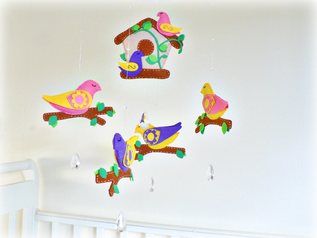 Baby bird mobile nursery mobile chandelier crystals for Bird mobiles for nursery